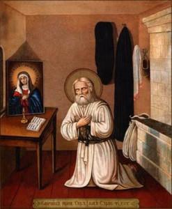 Серафим Саровский перед любимой иконой